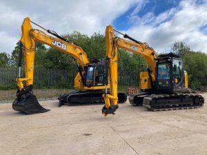 JCB zero tail swing excavator hire 245XR JZ145